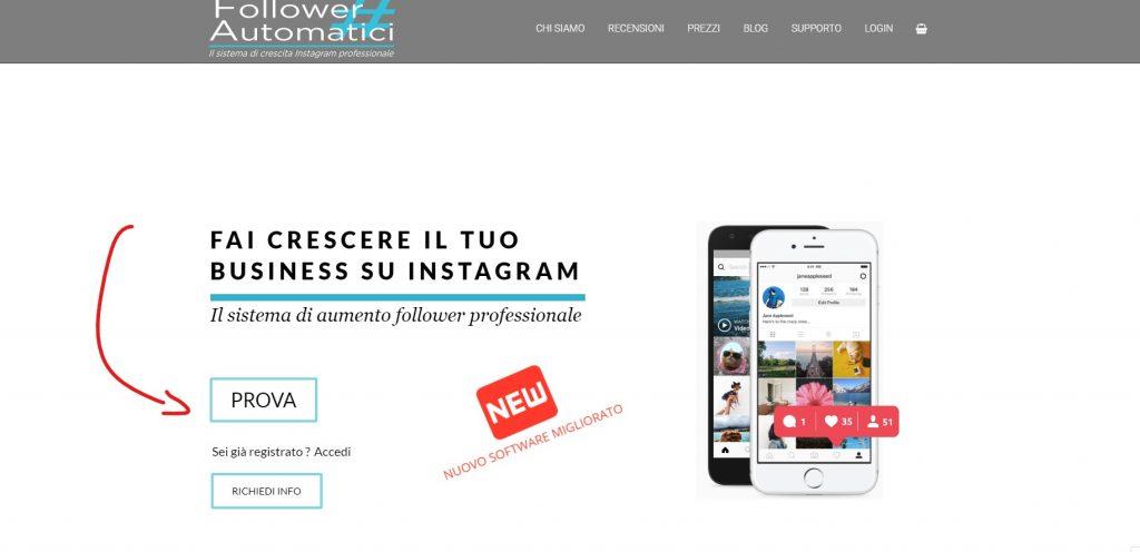 come aumentare i follower di instagram prova servizio