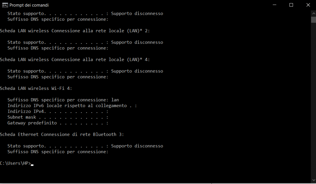 CMD di Windows per IP