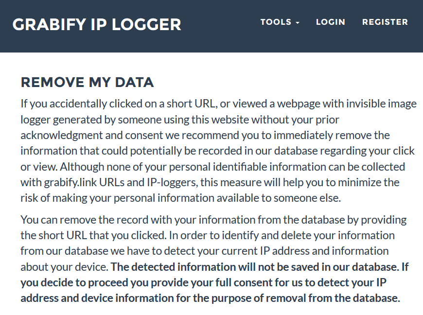 Rimuovere i dati raccolti da Grabify